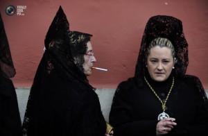 women smoking and screaming